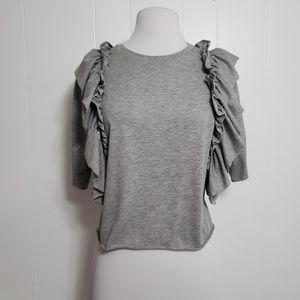 ⚡3/$15⚡ ASOS Ruffle Front Gray 3/4 Sleeve Top